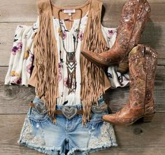 Love the vest, shirt, and boots. I like the lace on the jean shorts, but the shorts Country Style Outfits, Country Girl Style, Country Fashion, Boho Fashion, Fashion Looks, Cowgirl Fashion, Vest Outfits, Cowgirl Outfits, Western Outfits