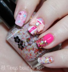 Easy Valentine's Day Girly Nail Art Wrapped with a Bow featuring KBShimmer & Glitter! featuring KBShimmer shades in Toast-ess With the Mostest, Beach Please, You Autumn Know, & Sweet Egg-scape in this manicure from All Things Beautiful XO