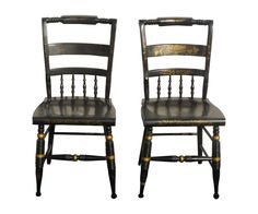 Black Vintage Spindle Back Windsor Chairs - A Pair on Chairish.com