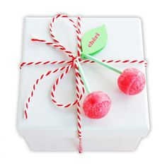 Nice gift wrapping ❥ Cherry Lollipop topper