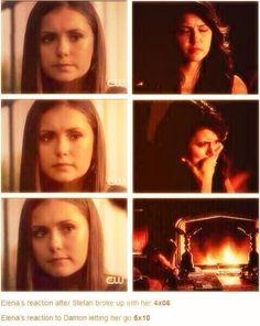 Elena's reaction to Stefan and Damon breakups