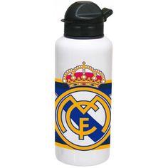 Botella de aluminio Real Madrid  Botella metálica con cierre anti-goteo  Capacidad: 400 ml  Dimensiones: 6,5 x 18,5 x 6,5 cm  Producto oficial Real Madrid  Fabricado por CyP