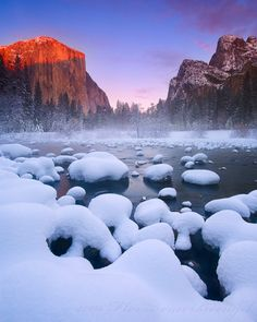 Snow Sunrise, Yosemite, California.   Photo via lattitudes.tumblr.com