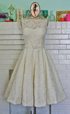 Audrey Hepburn-inspired tea-length wedding dress  - see more on http://themerrybride.org/2014/05/02/friday-finds-from-etsy-com-6/