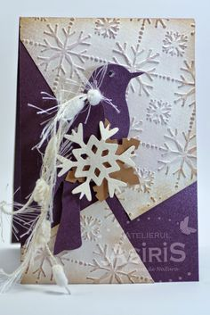 Christmas Handmade Card with Purple Bird