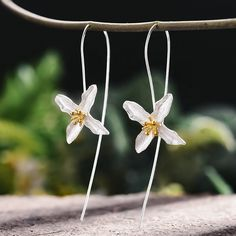 Earrings: Earring Poetic Clover Flower Earrings, Dangle Earrings, Karma, Silver Accessories, Types Of Metal, Natural Gemstones, Sterling Silver Earrings, Earrings Handmade, Locs