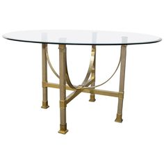 View This Item And Discover Similar Dining Room Tables For Sale At   Very  Chic And Beautiful Maison Jansen Brass And Glass Dining Table With A Four  Leg Art ...