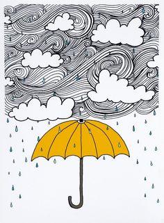 70's style umbrella clouds rain