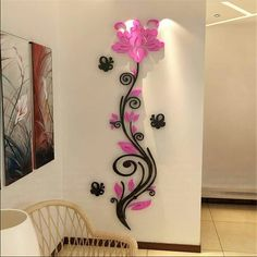 New Acrylic Crystal sticker stereoscopic rose flower wall stickers Europe Home decor TV backdrop entrance hallway sofa decals Decorating Your Home, Diy Home Decor, Salon Decorating, Room Decor, Decorating Ideas, Vine Wall, Wall Stickers Home Decor, 3d Wall, Wall Art