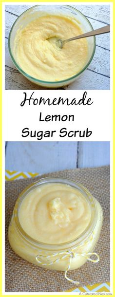 DIY Lemon Sugar Scrub! A great way to keep your skin beautiful and healthy is to use a body scrub! This moisturizing homemade lemon sugar scrub will clean your skin and leave it moisturized! This makes a great gift! DIY beauty| natural beauty recipes| DIY scrubs