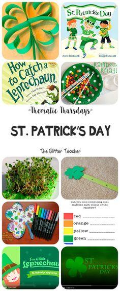 The Glitter Teacher: Thematic Thursdays: St. St Patricks Day, Saint Patricks, Days And Months, Teacher Blogs, Leprechaun, Thursday, Kindergarten, Glitter, Hashtags