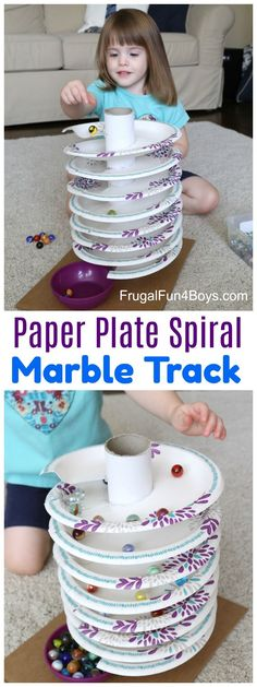 Here's a fun homemade toy that you can put together from stuff around the house - a spiral marble track!  Drop marbles at the top and watch them spin around the spiral track of paper plates until they get to the bottom.  It's very relaxing to watch. It's no secret that we love marble runs around here, and I have often thought that it would be awesome to create a spiral track. But I could never figure out a simple way to make it work!  Then I saw a video on Facebook from the page P...