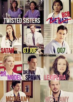 Grey's Anatomy nicknames all of them are perfect!, Grey's Anatomy nicknames all of them are perfect! lass mich d. Greys Anatomy Funny, Grey Anatomy Quotes, Anatomy Humor, Greys Anatomy Workout, Greys Anatomy Season 1, Watch Greys Anatomy, Greys Anatomy Scrubs, Tv Quotes, Movie Quotes