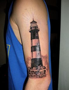 Tattoo done by Marc Cano at Slave to the Needle in Seattle, Washington.  Picture taken a couple hours after the tattoo. The start of my half sleeve. I've always loved lighthouses and they are the guiding light in my life. It also reminds me of my childhood when my family and I would take vacations to various beaches.