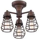 "Bendlin Industrial 15"" Wide Oil-Rubbed Bronze Ceiling Light"