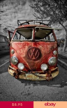VW KOMBI VAN ART IMAGE Poster Gloss Print Laminated