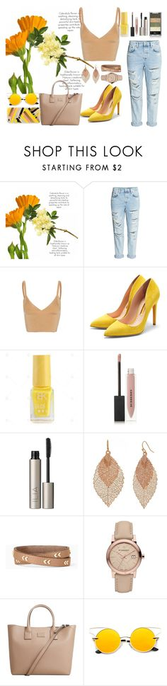 """""""Summer nights in yelow"""" by barbtolo ❤ liked on Polyvore featuring H&M, Dion Lee, Rupert Sanderson, Burberry, Ilia, Bold Elements, Stella & Dot, MANGO and Rifle Paper Co"""