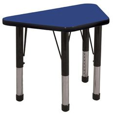 "ECR4Kids 30"" x 18"" Trapezoidal Activity Table Leg Style: Toddler Leg with Swivel Glide, Top Finish: Oak, Side Finish: Black"