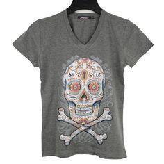Azúcar cráneo cuello camisa ligera suave Heather carbón por BABA226