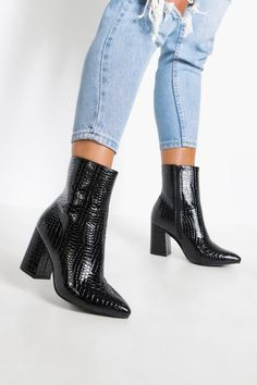 Womens Wide Fit Croc Block Heel Sock Boots – black – 9 The post Womens Wide Fit Croc Block Heel Sock Socks And Heels, High Heel Boots, Heeled Boots, Shoe Boots, Ankle Boot Heels, Boots With Heels, Bootie Heels, Women's Boots, Cowgirl Boots