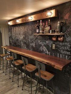 Black walnut bar I build for my house with chalkboard wall and iron pipe shelf. The light I build from barn board and Edison bulbs. #cheaphomebardecor