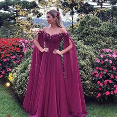2018 Formal Dresses Evening Wear Long Sleeves Off The Shoulder Appliques Chiffon Prom Dress Long Pleats Cheap African Party Gowns Vestidos A Line Evening Dress, Chiffon Evening Dresses, Tulle Prom Dress, Chiffon Dress, Evening Gowns, Red Chiffon, Off Shoulder Gown Evening Dresses, Purple Evening Dress, Dress Summer