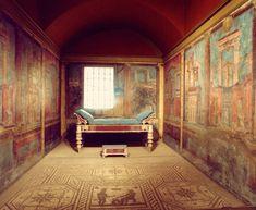 La villa de Boscoreale  Recreación de un cubículo (dormitorio) de la villa romana de Boscoreale, en el Museo Metropolitan de Nueva York, con los frescos que el museo compró a De Prisco.
