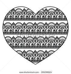 Mehndi, Indian Henna tattoo heart seamless pattern by RedKoala #folk #India #love