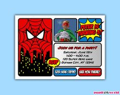 Spiderman Invitation  DIY Personalized Party by PupiloftheWorld, $12.00