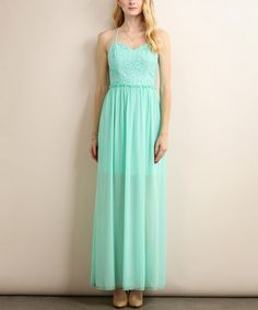 Look what I found on #zulily! Sage Lace-Overlay Open Back Maxi Dress #zulilyfinds