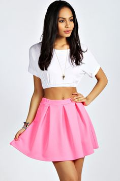 $8, Hot Pink Skater Skirt: Boohoo Tianna Neon Box Pleat Skater Skirt. Sold by BooHoo. Click for more info: https://lookastic.com/women/shop_items/54211/redirect