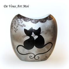 """Vase moderne """"collection Chat""""en porcelaine peinte à la main"""