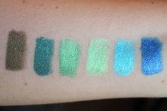 Left to Right: NYX Slide on Eyeliners - Golden Olive (SL05), Tropical Green (SL09), Esmeralda (SL06), Green Papaya (SL17), Azure (SL12), Sunrise Blue (SL14)