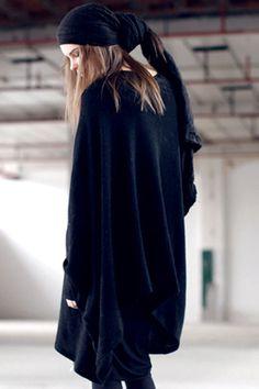 Asymmetric Magyar Sleeve Black Jumper #Romwe