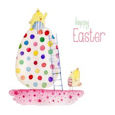Felicity French - FF easter card giant egg. French Illustration, Easter Illustration, Giant Easter Eggs, Easter Bunny, Illustration Inspiration, Greeting & Note Cards, Easter Story, Easter Parade, Easter Printables