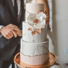 Via @withlovelyness In need of some CAKE inspo?? How about this pretty 'Amazing' #weddingcake 💞🌸 Grey marble meets rose gold & shimmery copper. By @adorncakes, @weddingbyhannah and team. Captured by @atleyandlizcollective 👏 . #cakeart #instacake #weddingcake #marble #luxe #copper #rosegold . As featured @theperfectpalette 💕