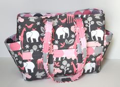 It's a GIRL Diaper Bag. Pink & Gray Michael Miller Zoology in Bloom.  Baby shoulder bag. Lightweight and Durable... $160.00, via Etsy.