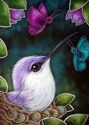 Art: TINY VIOLET HUMMINGBIRD MET THE BUTTERFLIES by Artist Cyra R. Cancel Hummingbird Painting, Hummingbird Tattoo, The Art Sherpa, Artist Portfolio, Rainbow Art, Disney Drawings, Whimsical Art, Hummingbirds, Beautiful Birds