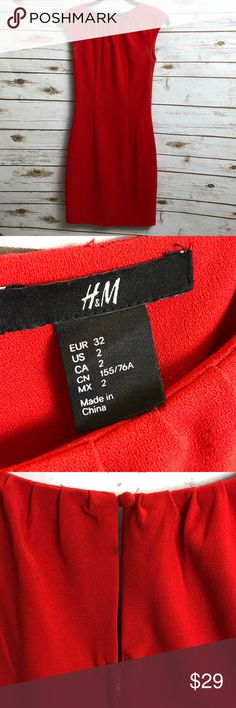 H&M RED DRESS! The sexiest dress! H&M red dress. Zipper and button in back. Size 2. Gently loved.  Smoke free, clean home. Feel free to reach out with any questions! H&M Dresses