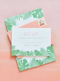 Tropical Leaf Wedding Invitations by Lauren Chism Fine Papers / Oh So Beautiful Paper Tiki Wedding, Hawaii Wedding, Our Wedding, Destination Wedding, Envelopes, Birthday Invitations, Wedding Invitations, Cheap Wedding Decorations, Cactus