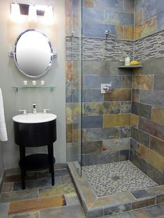 7 Perfect ideas: Corner Stand Up Shower Remodel small shower remodeling floor plans.Small Shower Remodeling Farmhouse master shower remodel before and after.Shower Remodel Before And After Tubs. Slate Bathroom, Bathroom Renos, Shower Bathroom, Bathroom Ideas, Slate Shower Tile, Shower Ideas, Garage Bathroom, Slate Tiles, Rental Bathroom
