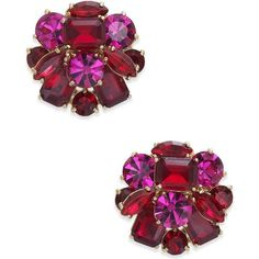 kate spade new york Gold-Tone Multi-Stone Cluster Stud Earrings (€32) ❤ liked on Polyvore featuring jewelry, earrings, red multi, gold colored earrings, cluster jewelry, kate spade earrings, goldtone jewelry and mixed metal jewellery #goldjewellery