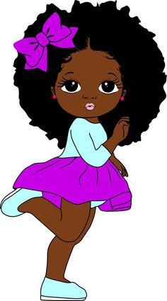 Black Love Art, Black Girl Art, Black Girl Magic, Art Girl, Cute Baby Drawings, Afro Ponytail, Arte Black, African Art Paintings, Black Girl Cartoon