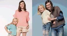 """Un duo sympathique avec le même modèle de pull tricoté au point mousse, en version """"mini moi"""". A décliner aussi en version été, avec un fil en coton ou en version hiver avec un fil ..."""
