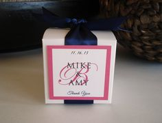 "35 Personalized Favor Box for Wedding, Shower or Any Special Event - Coral and Navy 3""x3""x3""."