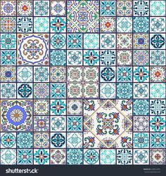 Vector Seamless Texture. Beautiful Mega Patchwork Pattern For Design And Fashion With Decorative Elements. Portuguese Tiles, Azulejo, Talavera; Moroccan Ornaments In Blue And Orange Colors - 430014355 : Shutterstock