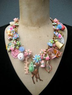 Vintage Pastel Toy and Flower Necklace: