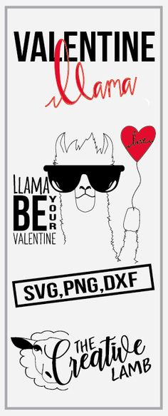 """""""Llama Be your Valentine""""cut file. Create this cute design right from home with your circuit or silhouette machine.  Like this design? If so you check out more valentines design here https://thehungryjpeg.com/dashboard.php?tab=store"""