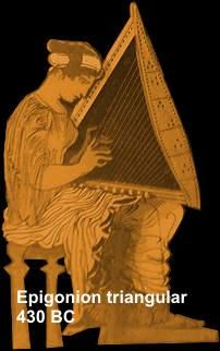 Ancient Greek Instruments: Epigonion belongs to the psaltery family and it is the instrument with the largest number of strings, sometimes as many as forty (Polydeuces). It may owe its name to the fact that it was played 'on the knee' - Greek 'epi gonu', or maybe because its inventor was someone named Epigonus.
