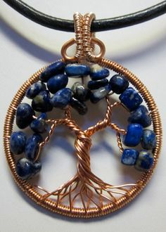 Blue Lapis in Copper Tree of Life Pendant by Mariesinspiredwire,